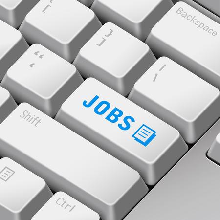 enter key: message on 3d illustration keyboard enter key for jobs concepts