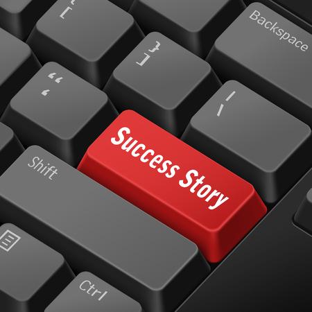 enter key: message on 3d illustration keyboard enter key for success story  concepts Illustration