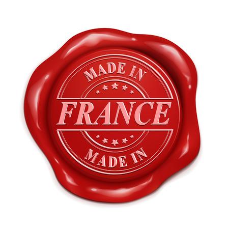 hecho en Francia 3d ilustración sello de cera roja sobre fondo blanco Ilustración de vector