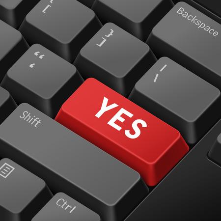 enter key: message on 3d illustration keyboard enter key for agree concepts