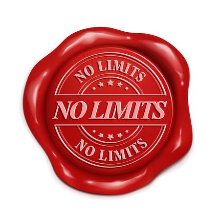 no hay límites 3d ilustración sello de cera roja sobre fondo blanco Ilustración de vector