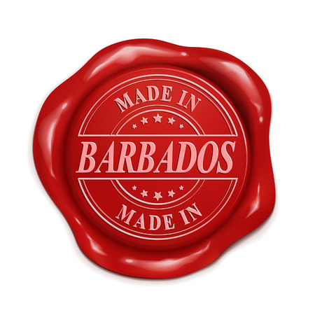 red wax seal: made in Barbados 3d illustration red wax seal over white background Illustration