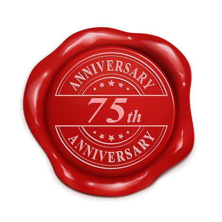 credentials: 75th anniversary 3d illustration red wax seal over white background