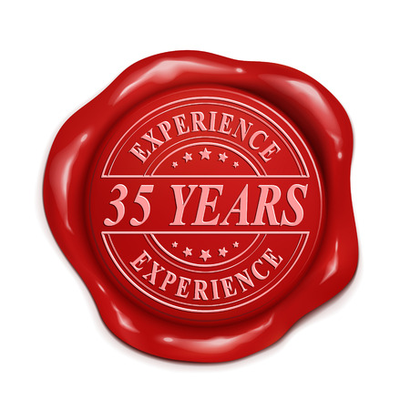 credentials: thirty five years experience 3d illustration red wax seal over white background