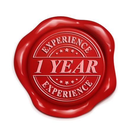 one year old: one year experience 3d illustration red wax seal over white background