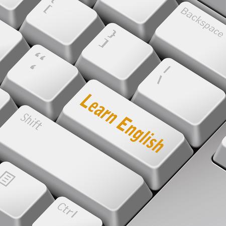 tecla enter: mensaje en el teclado 3d ilustración tecla enter para el aprendizaje de conceptos en inglés Vectores