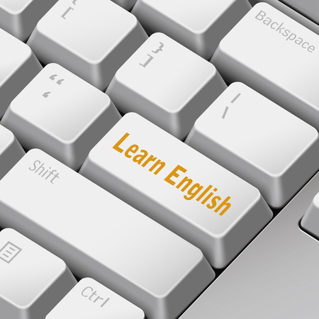learning english: message on 3d illustration keyboard enter key for learning English concepts Illustration
