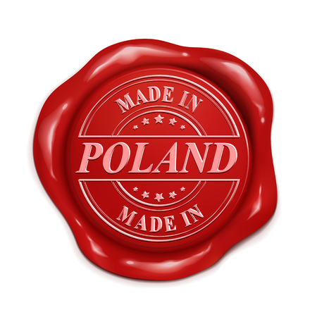 wax sell: made in Poland 3d illustration red wax seal over white background