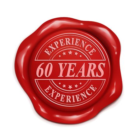 red wax seal: sixty years experience 3d illustration red wax seal over white background
