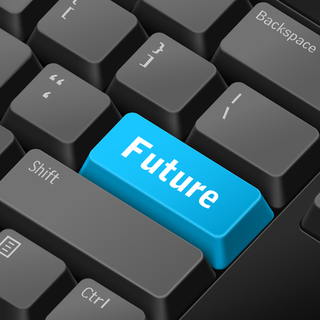 message on 3d illustration keyboard enter key for future time concepts