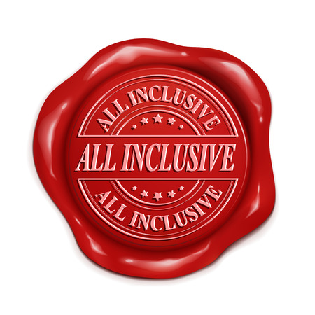 inclusive: all inclusive 3d illustration red wax seal over white background