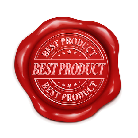wax seal: best product 3d illustration red wax seal over white background Illustration