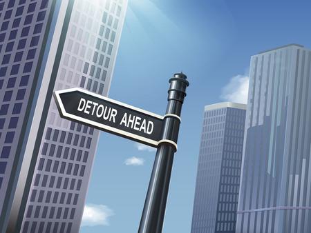 ahead: crossroad 3d illustration black road sign saying detour ahead