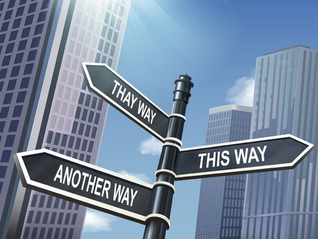 this: crossroad 3d illustration black road sign saying that way and this way and another way