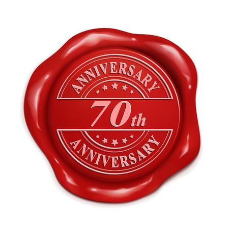 흰색 배경 위에 빨간색 왁 스 인감 70 주년 3d 그림
