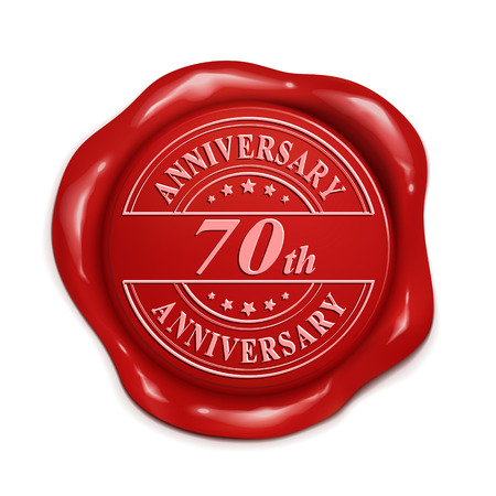 credentials: 70th anniversary 3d illustration red wax seal over white background