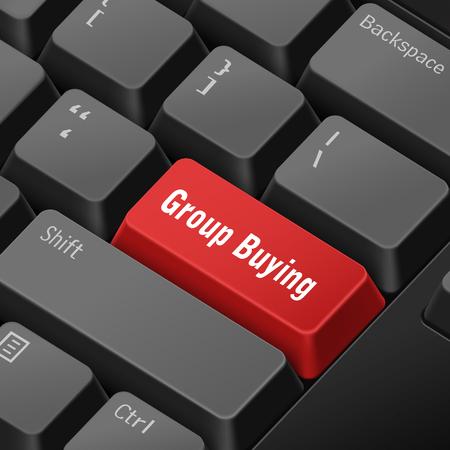 tecla enter: mensaje en el teclado 3d ilustración tecla enter para los conceptos de compras en grupo