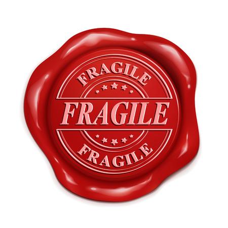 royal mail: fragile 3d illustration red wax seal over white background Illustration