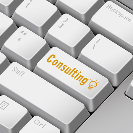 enter key: message on 3d illustration keyboard enter key for consulting concepts