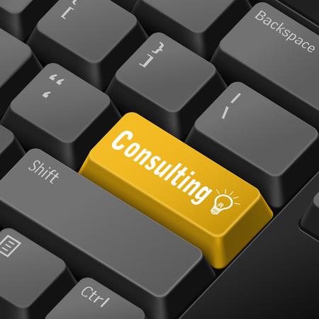 enter key: message on 3d illustration keyboard enter key for consulting concepts
