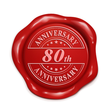 credentials: 80th anniversary 3d illustration red wax seal over white background