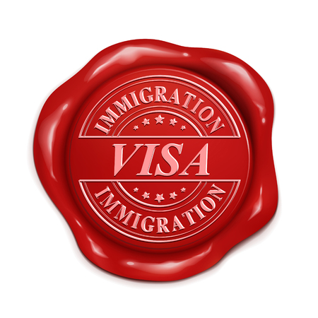 immigration visa 3d illustration red wax seal over white background