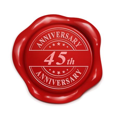 45 aniversario 3d ilustración sello de cera roja sobre fondo blanco Foto de archivo - 56117921