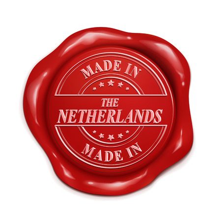 wax sell: made in The Netherlands 3d illustration red wax seal over white background