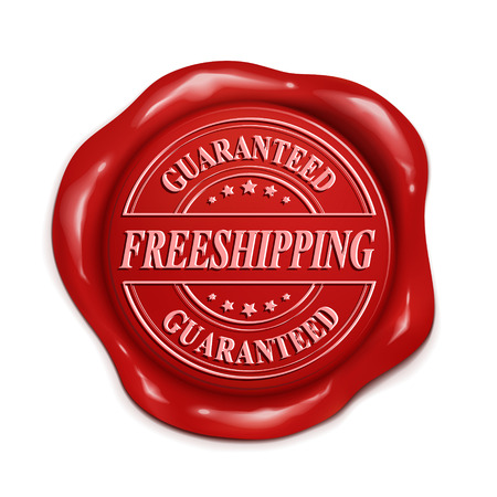 credentials: guarantee free shipping 3d illustration red wax seal over white background