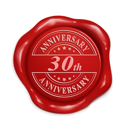 red wax seal: 30th anniversary 3d illustration red wax seal over white background