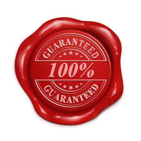 red wax seal: 100 percent guarantee 3d illustration red wax seal over white background