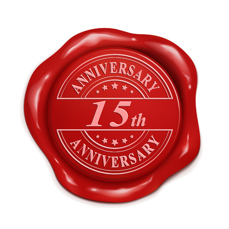 credentials: 15th anniversary 3d illustration red wax seal over white background Illustration