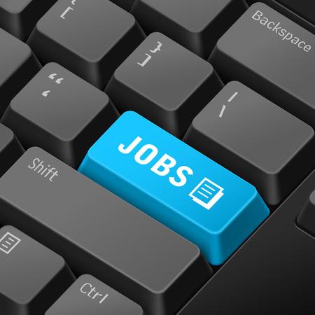jobs: message on 3d illustration keyboard enter key for jobs concepts