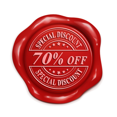 credentials: seventy percent off 3d illustration red wax seal over white background