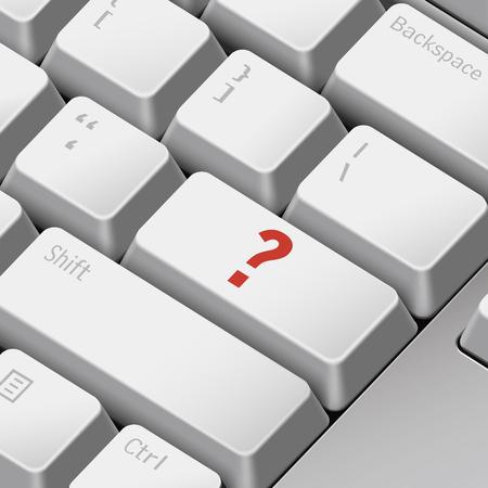 enter key: message on 3d illustration keyboard enter key for question mark concepts