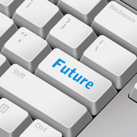 the enter key: message on 3d illustration keyboard enter key for future time concepts