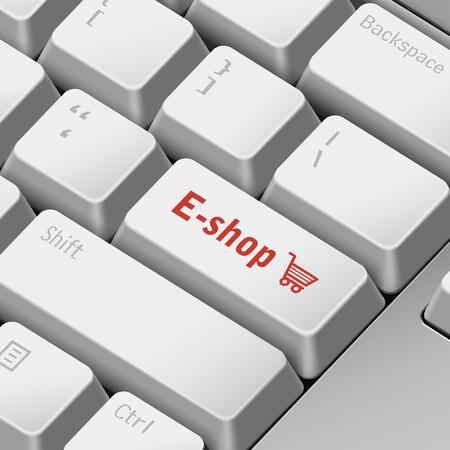 eshop: message on 3d illustration keyboard enter key for e-shop concepts