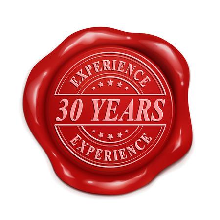 treinta años de experiencia 3d ilustración sello de cera roja sobre fondo blanco