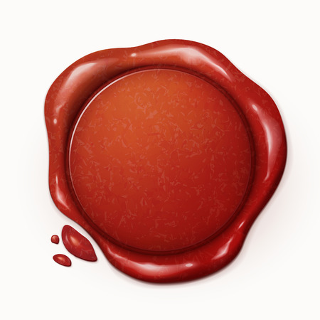 3d illustration red wax seal isolated on white background