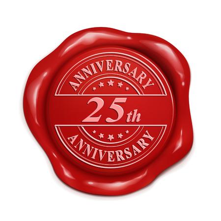 25 주년 3d 일러스트 빨간색 왁 스 인감 흰색 배경 위에