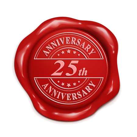 credentials: 25th anniversary 3d illustration red wax seal over white background Illustration