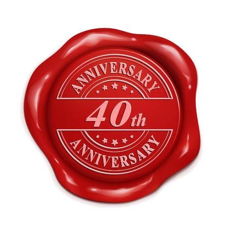 40 aniversario 3d ilustración sello de cera roja sobre fondo blanco