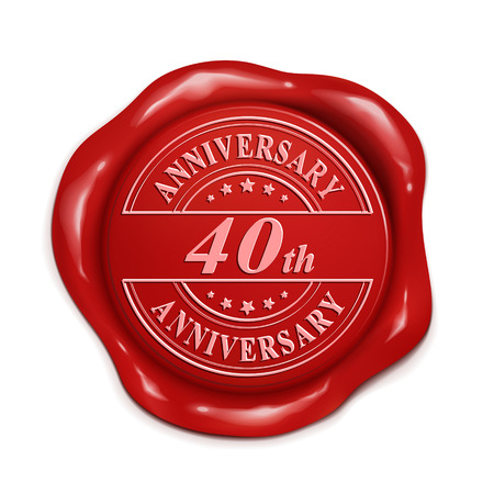 credentials: 40th anniversary 3d illustration red wax seal over white background Illustration