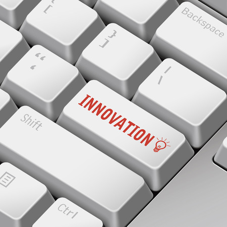 enter key: message on 3d illustration keyboard enter key for innovation concepts Illustration