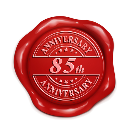 red wax seal: 85th anniversary 3d illustration red wax seal over white background