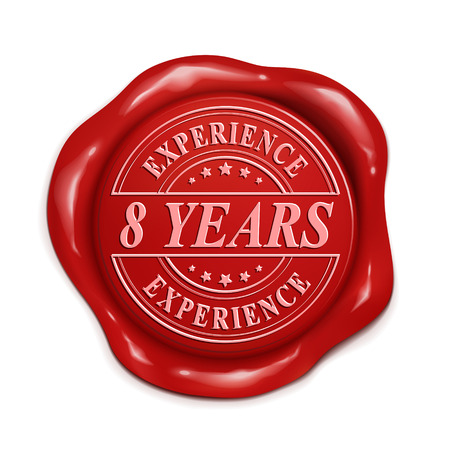 eight year old: eight years experience 3d illustration red wax seal over white background