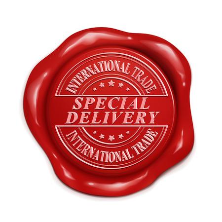 commercio espresso internazionale 3d illustrazione sigillo di cera rossa su sfondo bianco Vettoriali