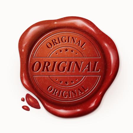 3d ilustración sello de cera roja original, sobre el fondo blanco