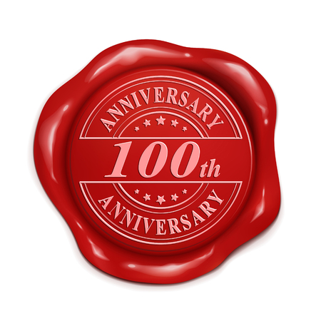 credentials: 100th anniversary 3d illustration red wax seal over white background