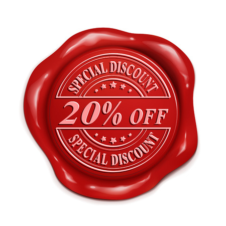 credentials: twenty percent off 3d illustration red wax seal over white background